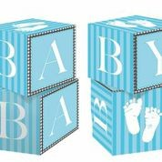 Sweet Baby Feet Blue - Baby Shower Cube Centre Piece