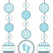 Sweet Baby Feet Blue - Baby Shower Hanging Cut Outs