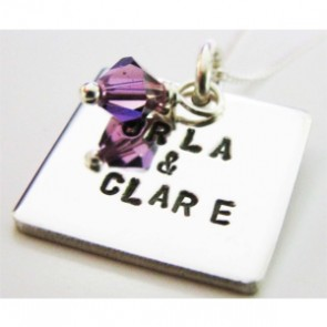 Personalised Square Tag Swarovski Birthstone