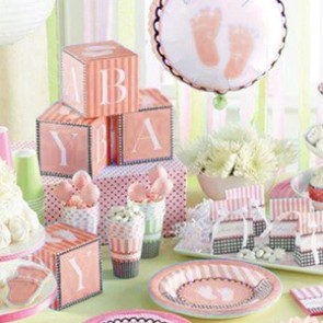 Sweet Baby Feet Pink Tableware complete set