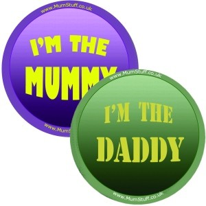 Im the mummy and daddy badge set