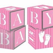 Sweet Baby Feet Pink - Baby Shower Cube Centre Piece